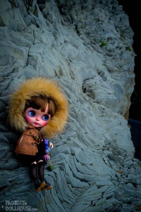Nori climbing the black beaches of Iceland